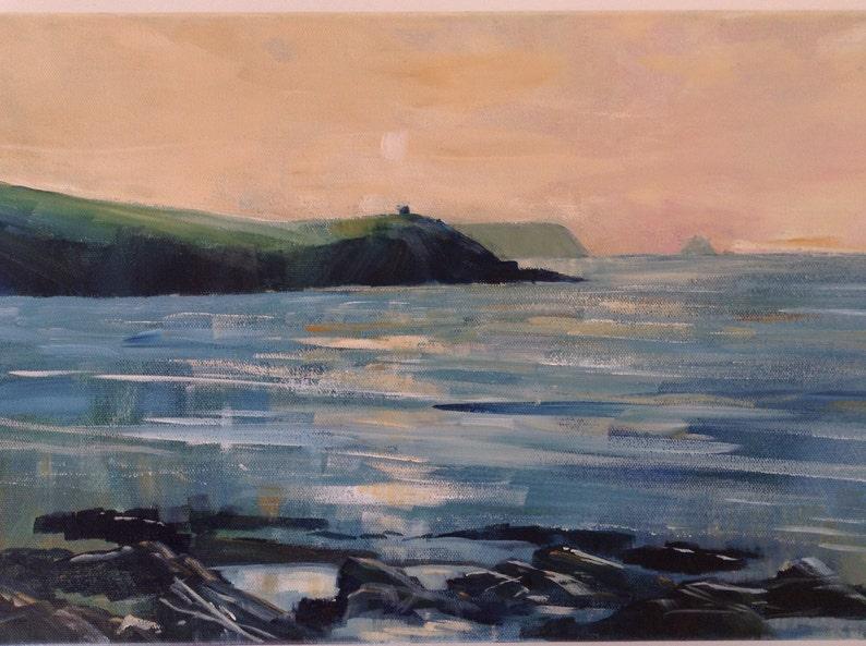 acrylic painting on canvas cornish art coastal art sunrise image 0