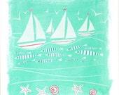 seaside print, turquoise ...