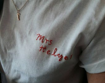 Personalised hand embroidered t-shirts