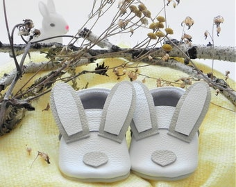 Easter Bunny Baby Moccs Leather Softsole Moccasins Easter Baby Shoes Crib shoes Baby girl shoes Girl Baptism Outfit Easter baby outfit Boots