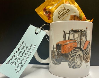 Modern Red Tractor Coffee Mug - Tractor Driver Gift - Retirement Gift for Farmer