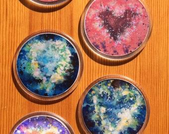 Round Cosmic Heart Coasters - Love Heart Drink Coaster