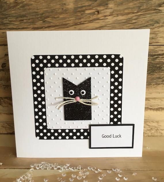 Bonne Chance Carte Examens Bonne Chance Cat Chat Chanceux Noir Noir Laissant Nouveau Job Nouvelle Maison Bon Voyage Pour Souhaiter à