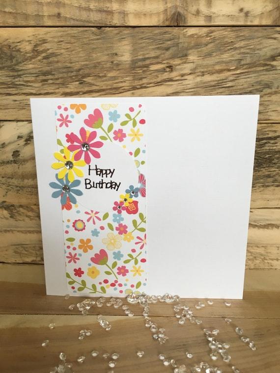 Handmade Birthday Card Happy Flowers Mum