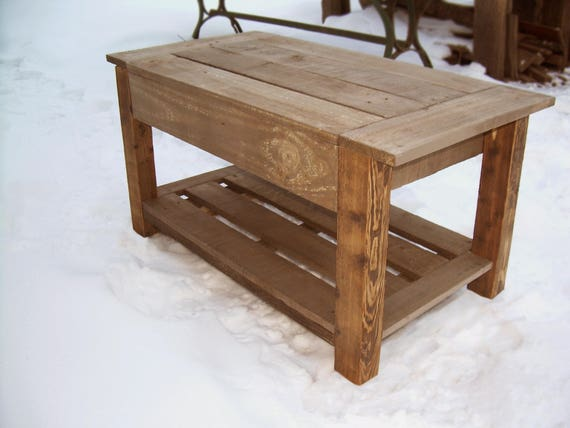 Small Pallet Table Handmade Rustic Coffee Table Reclaimed Wood Coffee Table Pallet Furniture Diy Woodwork Custom Table Gray Stone