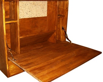 """Wall mounted secretary,bookcase with doors,wooden furniture,wall bookshelves,small wood bookcase,small bookshelf pine furniture""""Baby""""."""