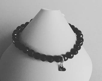 Black spinel stretchy bracelet with  sterling silver heart charm