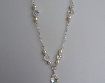 Swarovski crystal and freshwater pearl necklace