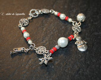 """Snowman"" charm bracelet with red and white glass beads ideal for Christmas"