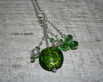 Chunky Necklace Bead green murano