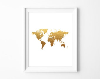 Metallic world map etsy world map poster travel map art print pdf digital faux gold foil gold metallic decor diy nursery sign kitchen poster printable gumiabroncs Images