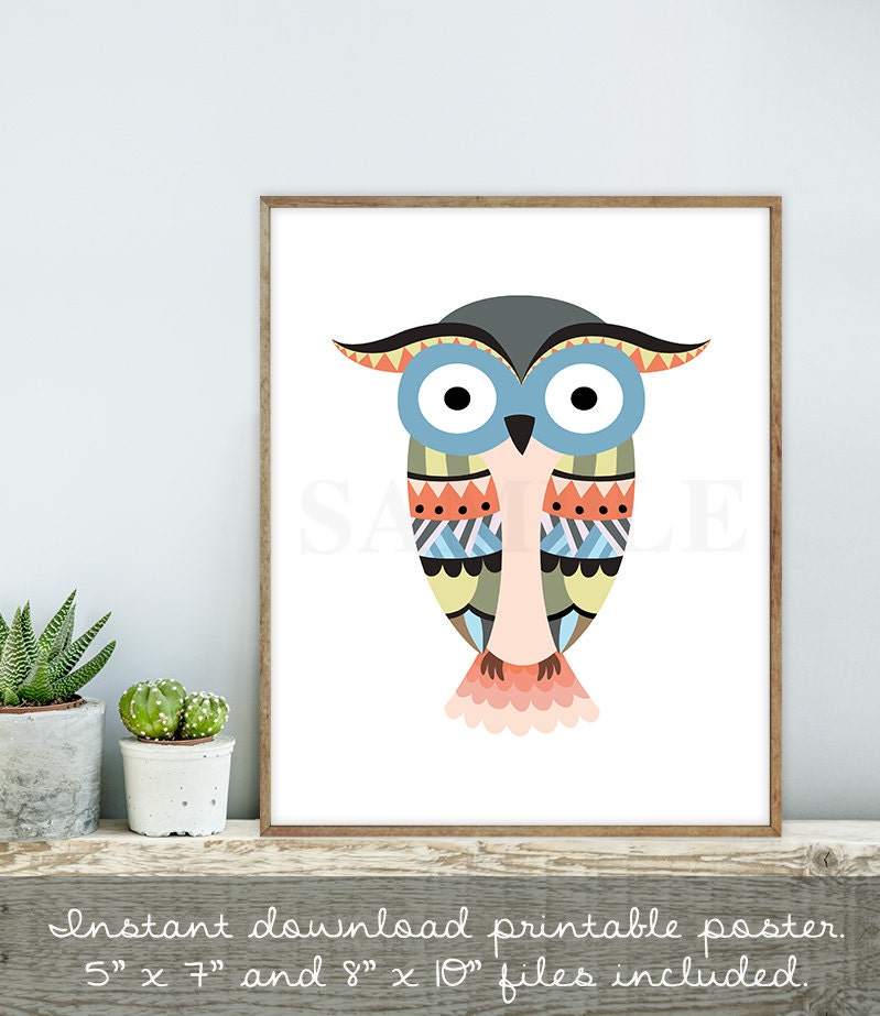 f606a1d42 ... Tribal Blue Art: Tribal Blue Owl Sign / Wall Art Print DIY / Native