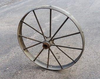 Antique Wagon Wheel,vintage Metal Carriage Wagon Wheel,yard Garden Decor  Primitive