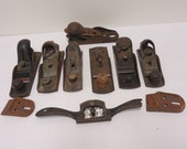 block planes lot vintage wood planes parts spokeshave,stanley and others junk drawer broken tools lot.for parts repair