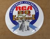 RCA Victor nipper dog pin button 1996 50th annversary celebration