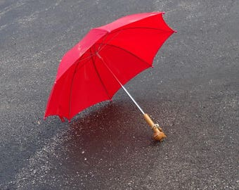 vintage kids umbrella,red umbrella shade,retro small wood umbrella