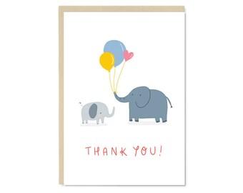 Thank you! Elephants with Balloons Card | Cute kawaii thank you A6 blank greetings card