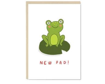 New Pad! Frog Card | Cute kawaii new home A6 blank greetings card