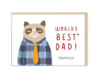 Grumpy Cat Father's Day Card | Cute kawaii Father's Day A6 blank greetings card