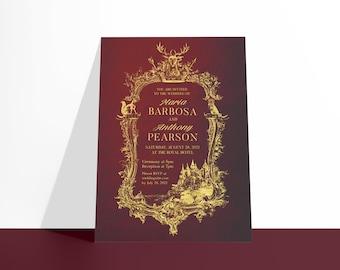 PRINTABLE Castlefield Medieval Luxury Wedding Event Invitation Invites Gold Buirgundy Maroon Wine Crest Stationery Customized Corjl Vintage