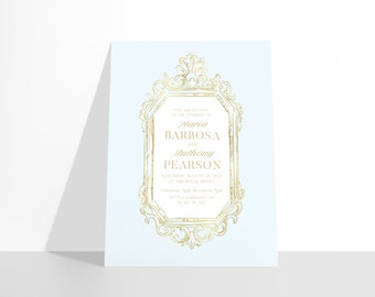 PRINTABLE Castlefield French Chic Pink Blue White Gold Baroque Frame Wedding Event Invitations Stationery Customizable Corjl Invitation