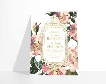 PRINTABLE Castlefield Luxury Alpine Floral Flowers 4 Colors Gold Baroque Invitation Wedding Event Invitations Stationery Customizable Corjl