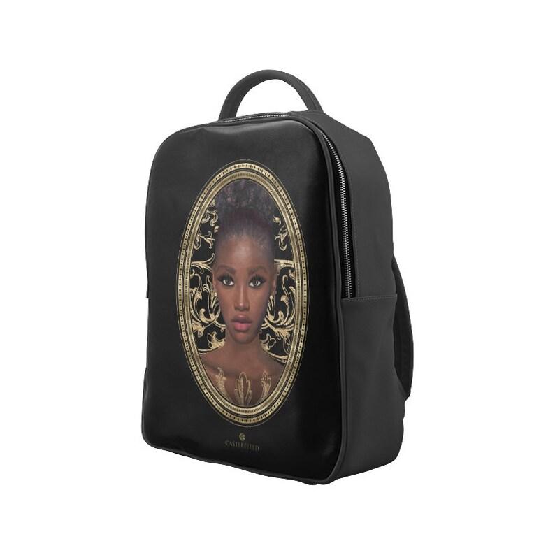 Castlefield Design Luna Baroque Gold Black Girl Magic Backpack Book Bag Knapsack Rucksack Melanin Dark Skin Beauty