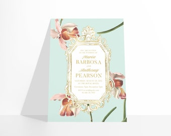 PRINTABLE Castlefield Luxury Orchid Floral 3 Colors Pink Blue White Baroque Invitation Wedding Event Invitations Stationery Customizable