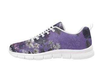 Castlefield Lalia Lilac Floral Purple Flower Design Sneakers Runners Casual Tennis Shoes