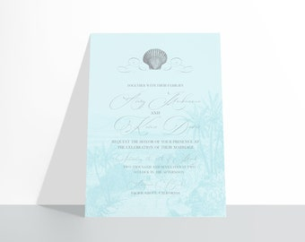 PRINTABLE Castlefield Vintage Beach Wedding Event Invitations Stationery Customizable Corjl Invitation Seashell Shell Ocean Island Tropical