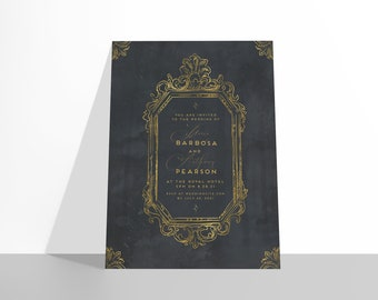 Castlefield Halloween Party Gothic Wedding Event Invitations Gold Skeleton Skull Moody Victorian Baroque Watercolor Gold Frame