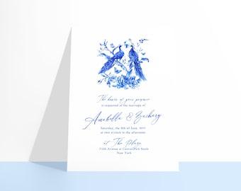 PRINTABLE Castlefield Luxury Peacock Blue Floral Flowers Birds Invitation 2 Designs Wedding Event Invitations Stationery Customizable Corjl