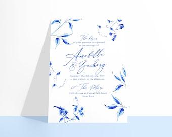 PRINTABLE Castlefield Luxury Blue Floral Tendrils Invitations Invitation 2 Designs Wedding Event Invitations Stationery Customizable Corjl
