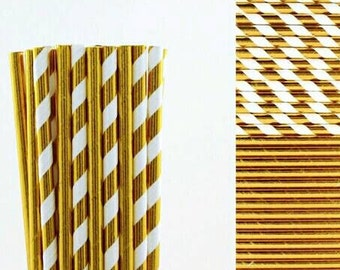 Solid or Stripe Gold and Silver Foil Paper Straws