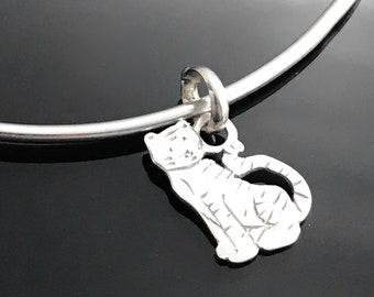 Tiger bracelet - Sterling silver cat bangle - Tiger jewelry - Indian animal bracelet - Sterling silver animal bracelet