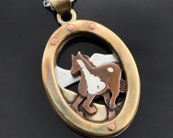 Wild horse necklace - Horse pendant - Mustang necklace - Animal necklace - Mixed metal necklace - Equestrian jewelry