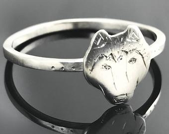 Husky ring - Sterling silver husky - Husky jewelry - Dog ring - Sterling silver animal ring - Husky face jewelry
