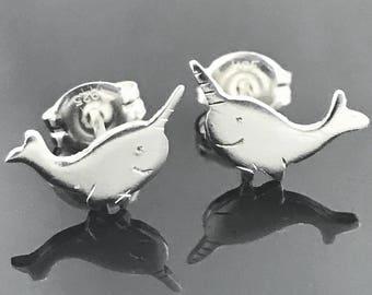 Narwhal earrings - Sea unicorn - Sterling silver ocean jewelry - Narwhal jewelry - Animal earrings - Sterling silver animal earrings