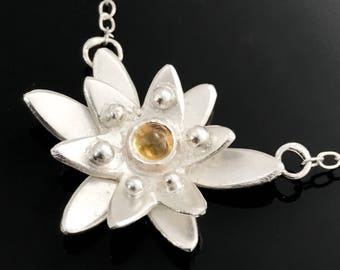 Edelweiss necklace - Silver flower necklace - Small flower necklace - Citrine flower necklace - Edelweiss jewelry - November birthstone