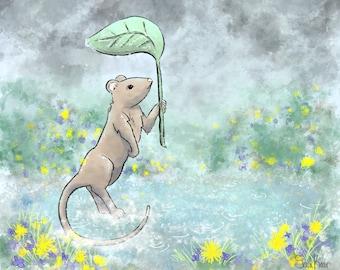 FRAMED Rainy day mouse framed art print - Cute mouse print - Mouse holding leaf art - Mouse with flowers and rain art
