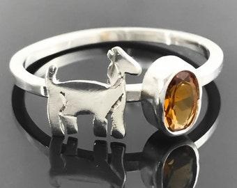 Goat ring - Citrine ring - Sterling silver goat - Goat jewelry - November birthstone - Sterling silver animal ring