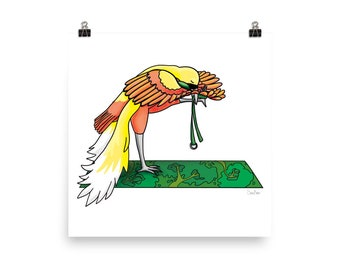 Bird of paradise in yoga pose art - Yoga bird illustration - Yoga animal drawing - Bird art print
