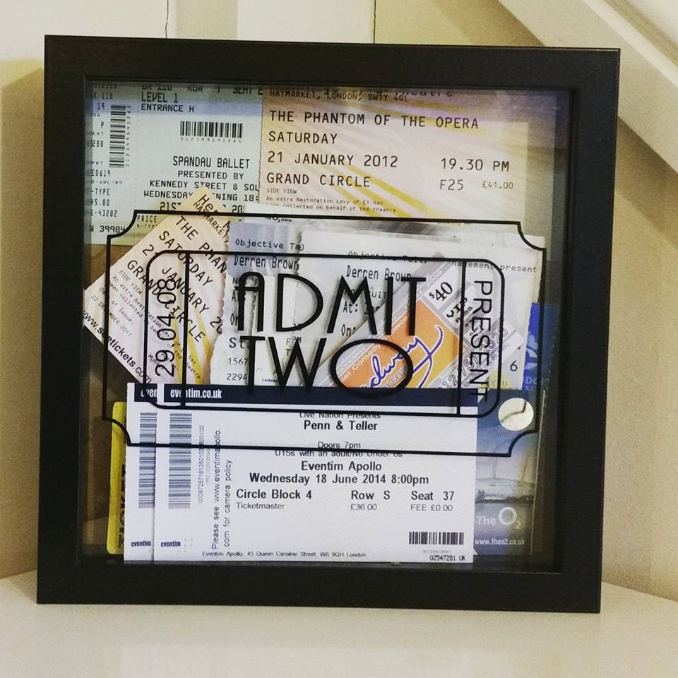 Memory box frame - Ideal to store concert tickets, lovely as a gift ...