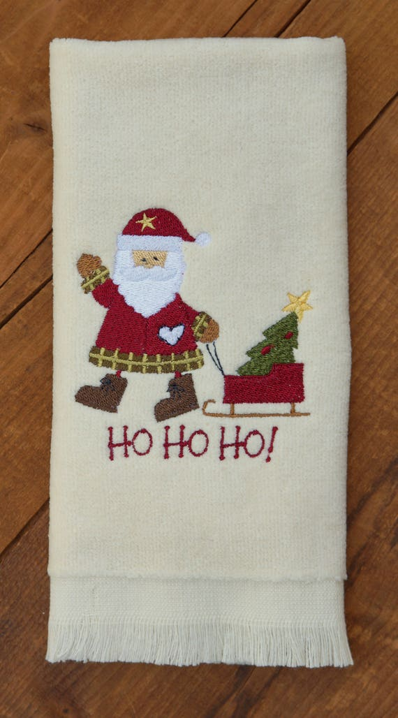 Christmas Santa Claus Embroidered Towel Bathroom Hand Towel