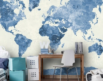 World map wallpaper etsy world map in blue wall mural watercolor world map wallpaper wall dcor wall decal gumiabroncs Choice Image