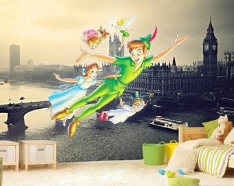 Peter Pan Mural 4 Neverland Wall Mural Wallpaper Wall Etsy
