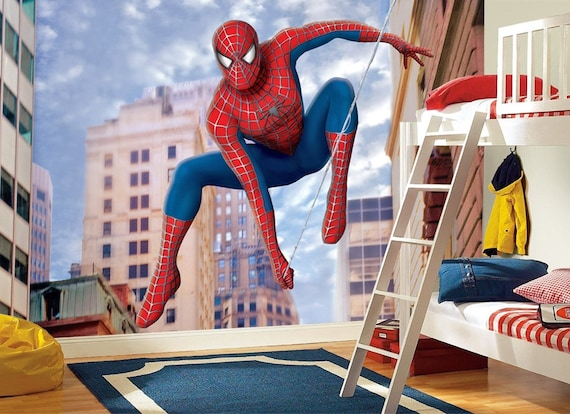 Spiderman 2 Wall Mural Spiderman Wallpaper Superhero Wallpaper Spider Man Wall Décor Wall Decal Nursery Décor Large Scale Wall Print