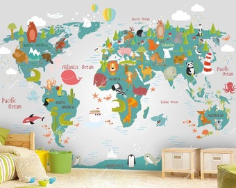 world map wall mural in teal and light gray children map with animals wallpaper