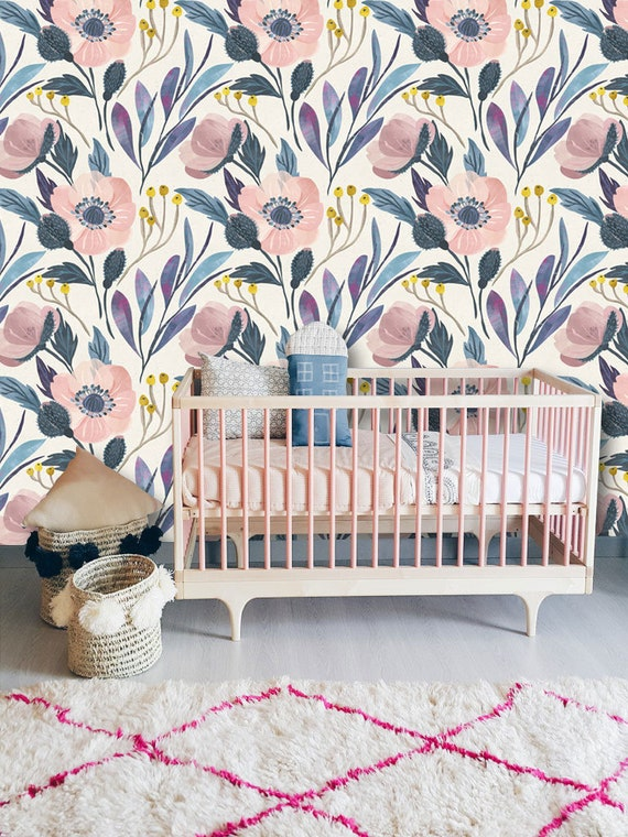 They Are Wildflowers Wall Mural Watercolor Flowers In Pale Pink And Dusty Blue Wallpaper Wall Decor Nursery Decor Floral Wallpaper