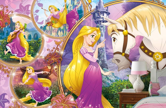 Beautiful Rapunzel Mural Tangled Wallpaper Wall Decor Wall Decal Nursery And Room Decor Wall Art